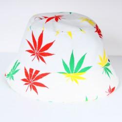 Bob blanc imprimé feuilles de cana rasta