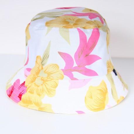 Bob blanc imprimé fleurs jaune et rose