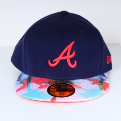 Casquette New Era Atlanta bleue logo rose 59 fifty