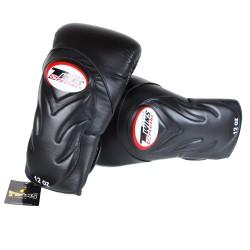Gants de Boxe TWINS Noir design relief ton sur ton