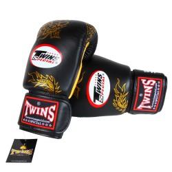 Gants de Boxe TWINS noir & jaune dragon doré