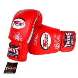 Gants de Boxe TWINS rouge & gris dragon argenté