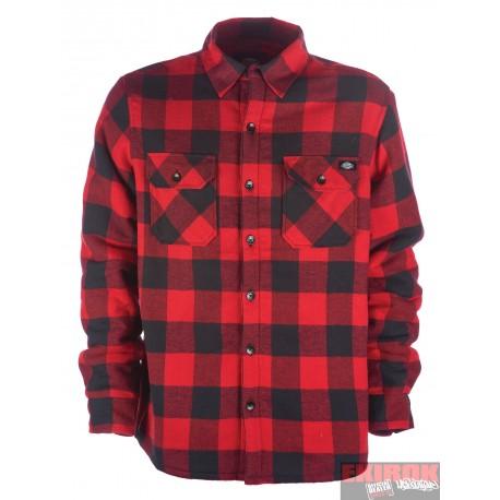 Chemise Dickies d'hiver Lansdale doublure molletonné à carreaux noir/rouge
