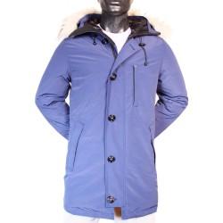 Parka Snorkel à capuche bleu Fermeture zip et boutons