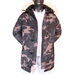 Parka Snorkel à capuche Camouflage Fermeture zip et boutons