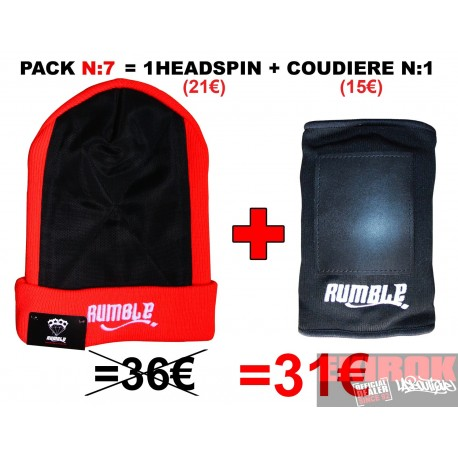 "Pack N°7 Rumble: Bonnet headspin Vermillon + coudière ""Breakdance"""