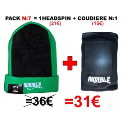 "Pack N°7 Rumble: Bonnet headspin Vert + coudière ""Breakdance"""