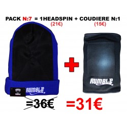 "Pack N°7 Rumble: Bonnet headspin Bleu + coudière ""Breakdance"""