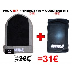 "Pack N°7 Rumble: Bonnet headspin Gris + coudière ""Breakdance"""