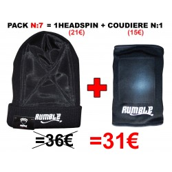 "Pack N°7 Rumble: Bonnet headspin Noir + coudière ""Breakdance"""