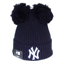 Bonnet Double pompon New Era NY Yankees bleu marine