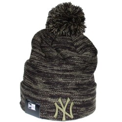 Bonnet à pompon New Era NY Yankees rose chiné