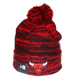 Bonnet à pompon New Era Chicago Bulls rouge chiné
