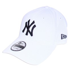Casquette New Era NY Yankees blanche logo noir ajustable