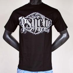 Tee Shirt Noir Psycho Real Typo Losange